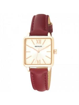 Henley Ladies Traditional Rectangular Fashion Strap Watch - Red