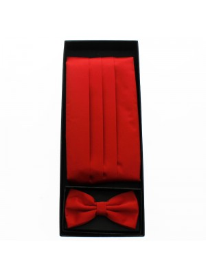 Men's Bow Tie With Sash Belt - Red