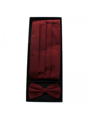 Men's Bow Tie With Sash Belt - Maroon