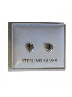 Sterling Silver Leaves Studs - Approx 5mm