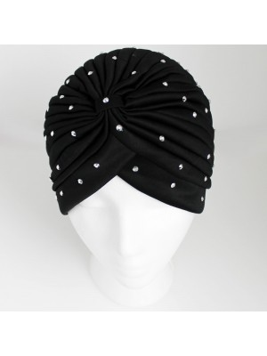 Jersey Turban Hat with Sequins - Black