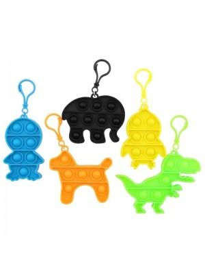 Push & Pop Animal Shaped Bubble Fidget Keyrings - Assorted Colours