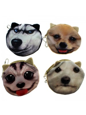 Ladies' Round Dog Design Purses - Assorted Designs