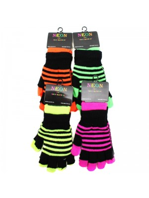 Ladies 2 in 1 Magic & Fingerless Gloves - Assorted Neon Colours