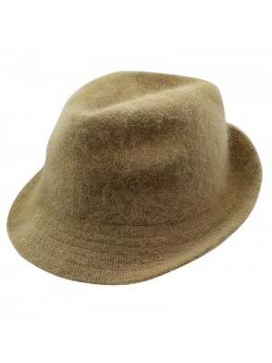 Ladies Angora Wool Trilby Hat - Beige