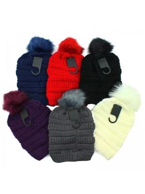 Ladies' Beanie Hat With Detachable Bobble - Assorted Colours
