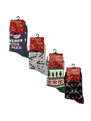 Ladies Christmas Design Socks (1 Pair Pack) - Asst