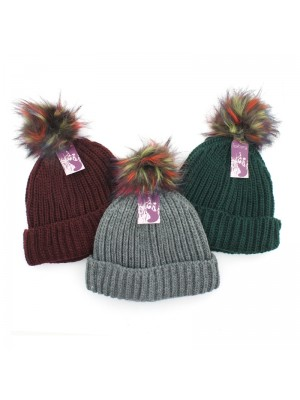 Ladies' Chunky Knit Faux Fur Bobble Hats - Assorted Colours