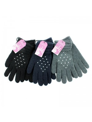 Ladies' Cuffed Diamond Shape Diamante Gloves - Assorted Colours