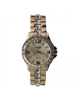 Ladies NY London Crystal Design Metal Bracelet Watch - Rose Gold