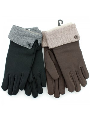 Ladies' Soft Gloves With Herringbone Cuff - Asst. Colours