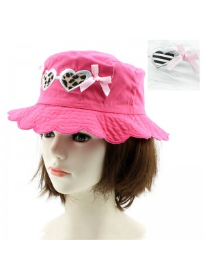 Children's Summer Bucket Hat (Hearts & Bow Design) – Asst. Colours & Sizes