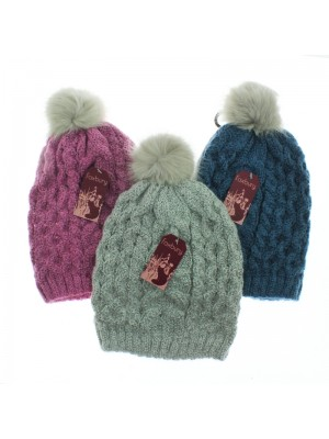 Ladies' Two-Tone Knitted Bobble Hats - Assorted Colours