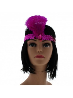Large Feather Headband with Sequins and Crystal - Fuchsia