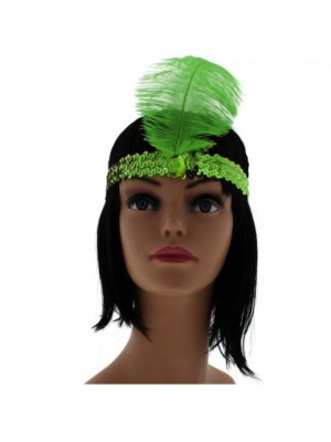 Large Feather Headband with Sequins and Crystal - Green