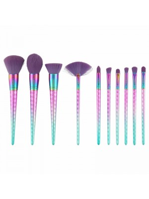 Laroc 10 Piece Diamond Style Metallic Rainbow Brush Set