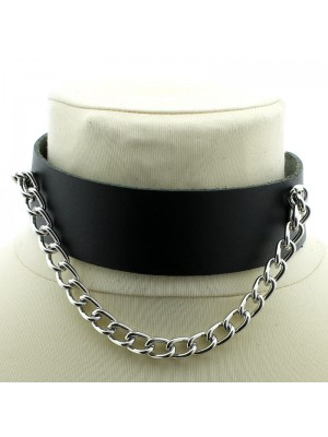 Leather Choker With Chain (20cm Chain)