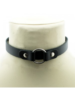 Leather Choker With Strapped On Ring (3cm)