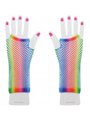 Long Rainbow Fishnet Gloves