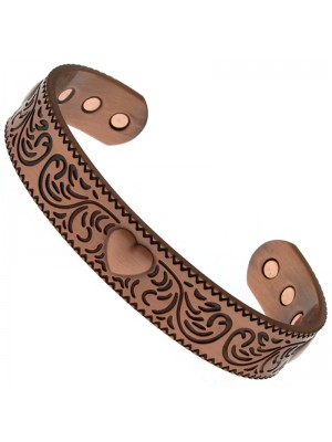 Magnetic Copper Bangle - Heart With Swirls (L)