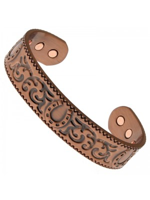 Magnetic Copper Bangle - Horseshoe With Patterns (L)