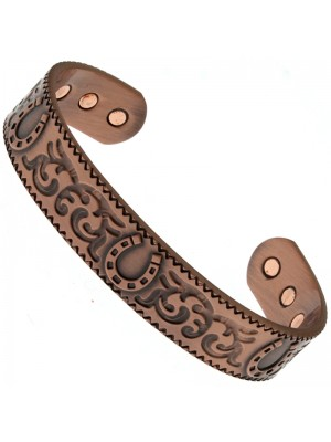 Magnetic Copper Bangle - Horseshoe With Patterns (M)
