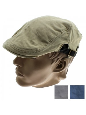 Men's Flat Cap With Buckle - Assorted Colours