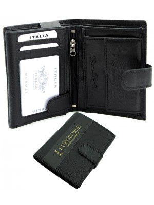 Men's Textured RFID Leather Wallet 8 Card Slots - Black