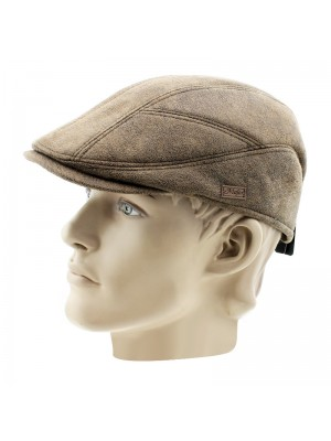 Men's Flat Caps With Frayed Leather Design - Brown