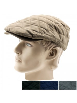 Men's Quilted Flat Caps - Assorted Colours