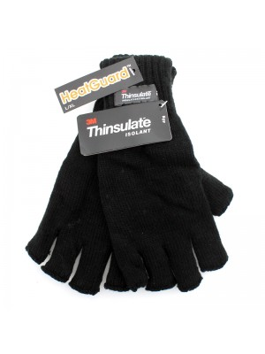 Men's Thinsulate Knitted Fingerless Gloves - Black