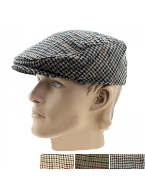 Men's Tweed Patterned Flat Caps - Asst. Colours