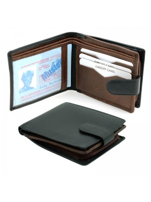 Men's Woodbridge Genuine Leather Wallet - Black Brandy