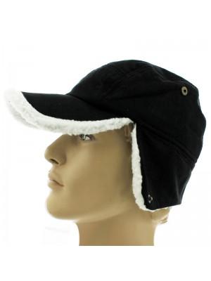 Unisex Plain Peak Hats - Black