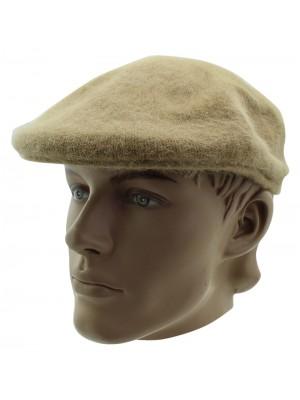 Mens Angora Wool Flat Cap - Beige