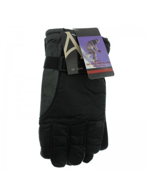 Mens Black Thinsulated Ski Gripper Gloves - Assorted Sizes