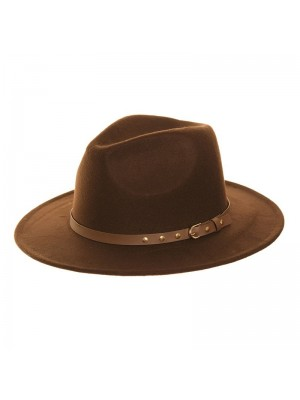 Mens Brown Wide Brim Trilby With Studded Belt Band (Assorted Sizes)