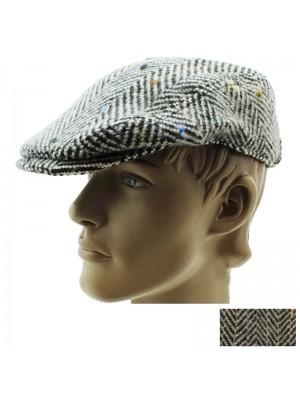 Mens Herringbone Design Flat Cap - Assorted Colours & Sizes