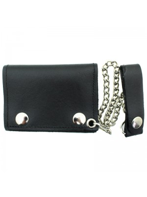 Mens Leather Biker Wallet with Chain - Black (Small)
