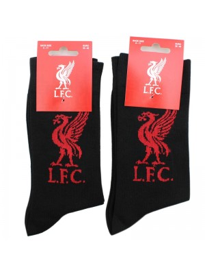Mens Liverpool Football Club Crest Official Socks - Black