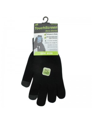 Mens Plain Touch Screen Magic Gloves - Black