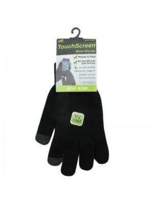 Mens Plain Touch Screen Magic Gloves - Black