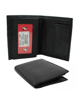 Mens RFID Genuine Leather Wallet with 3 Card Slots - Black