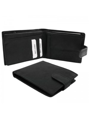 Mens RFID Genuine Leather Wallet with 6 Card Slots - Black