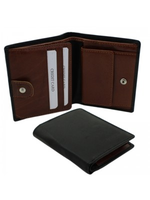 Mens RFID Woodbridge Genuine Leather Wallet with 6 Card Slots - Black & Brown