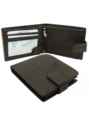 Mens RFID Genuine Leather Wallet with 7 Card Slots - Brown
