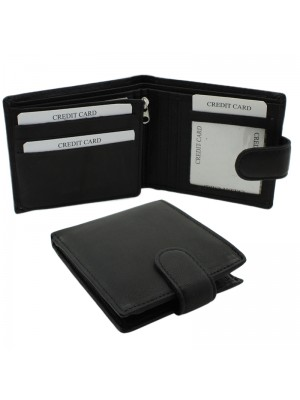 Mens RFID Woodbridge Genuine Leather Wallet with 9 Card Slots - Black
