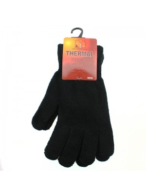 Mens Thermal Knitted Magic Gloves - Black