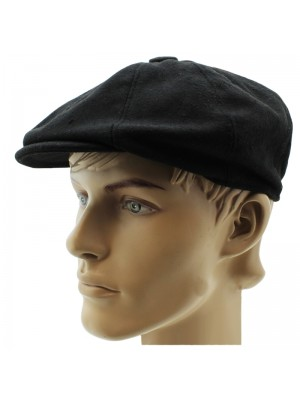 Mens Wool 8-Panel Flat Caps in Black - Assorted Sizes
