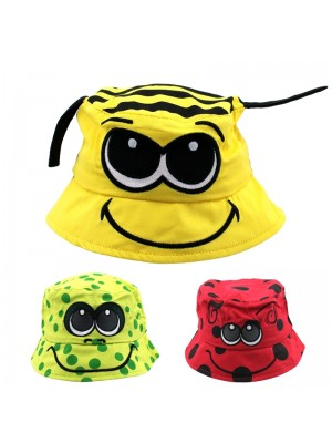 Novelty Bucket Hats With A Smiley Face - Assorted Designs
